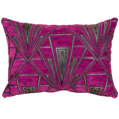 Art Deco Geometric Boudoir Cushion in Pink and Silver