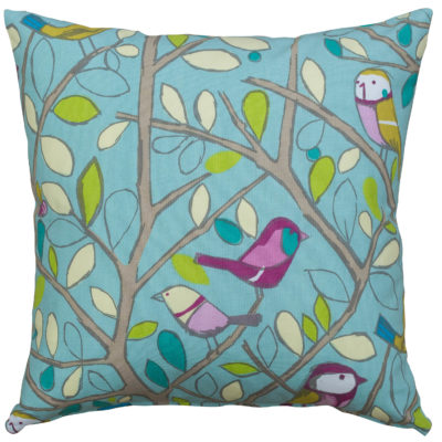 Bird on a Branch Cushion in Duck Egg Blue
