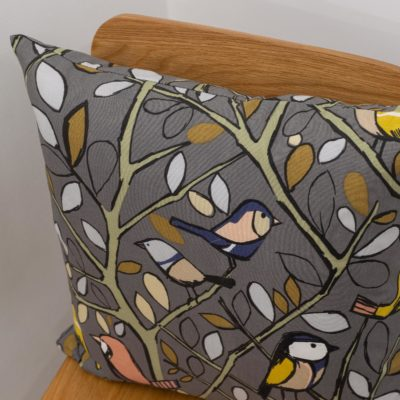 Illustrated Bird on a Branch Cushion in Charcoal Grey