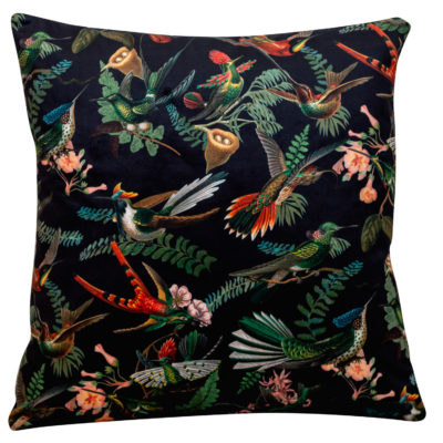 Botanical Velvet Hummingbird Cushion