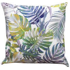 Exotic Leaves Cushion in Blue and Green
