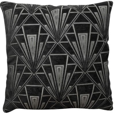 Extra Large Art Deco Geometric Cushion in Black and Silver