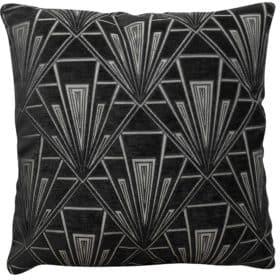 Extra Large Art Deco Geometric Cushion Black