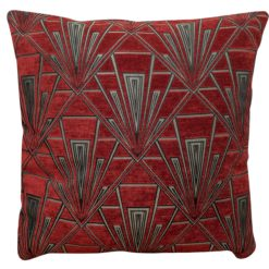Extra Large Art Deco Geometric Cushion in Red and Silver