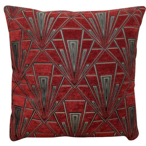 Extra Large Art Deco Geometric Cushion Red