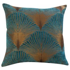 Extra Large Fan Art Deco Cushion in Teal and Gold