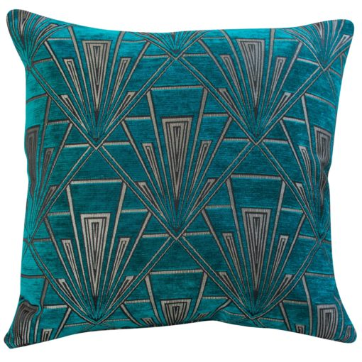 Extra Large Geometric Art Deco Cushion in Teal and Silver