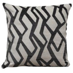 Abstract Geometric Cushion Grey on White