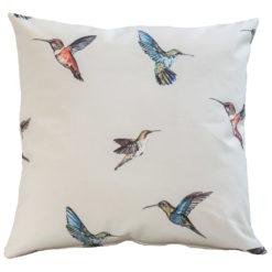 Hummingbird Print Cushion in Cream