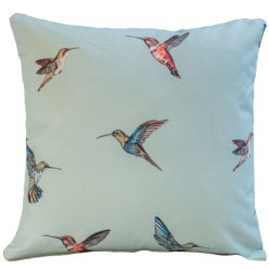 Hummingbird Print Cushion in Duck Egg