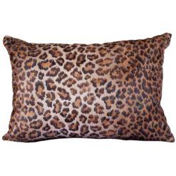 Leopard Print Velvet Boudoir Cushion Bronze