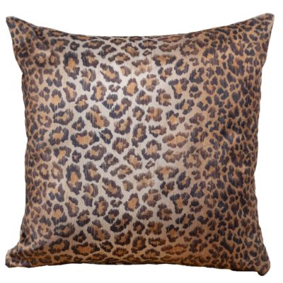 Leopard Print Velvet Cushion in Bronze
