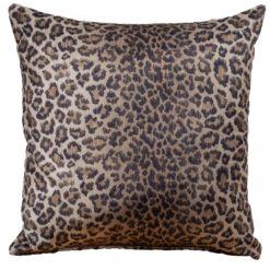 Leopard Print Velvet Cushion in Brown