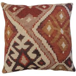 Linen Kilim Cushion in Terracotta
