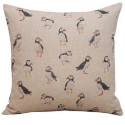 Linen Puffin Cushion