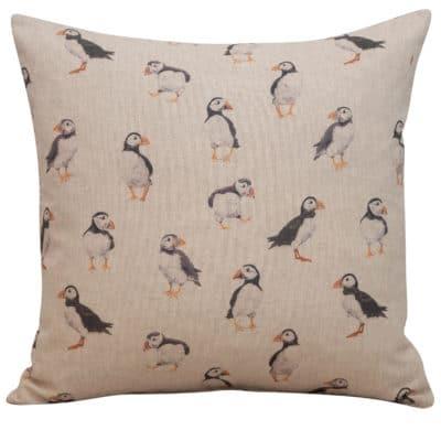 Linen Puffin Cushion