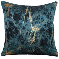 Metallic Marble Cushion in Teal and Gold