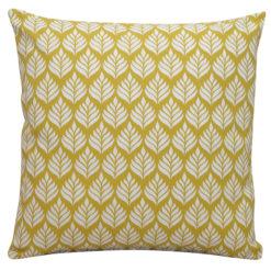 Minimalist Leaf Print Scandi Cushion in Yellow