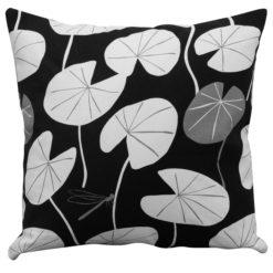 Monochrome Lily Pad Print Cushion