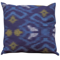 Neon Ikat Cushion in Navy Blue
