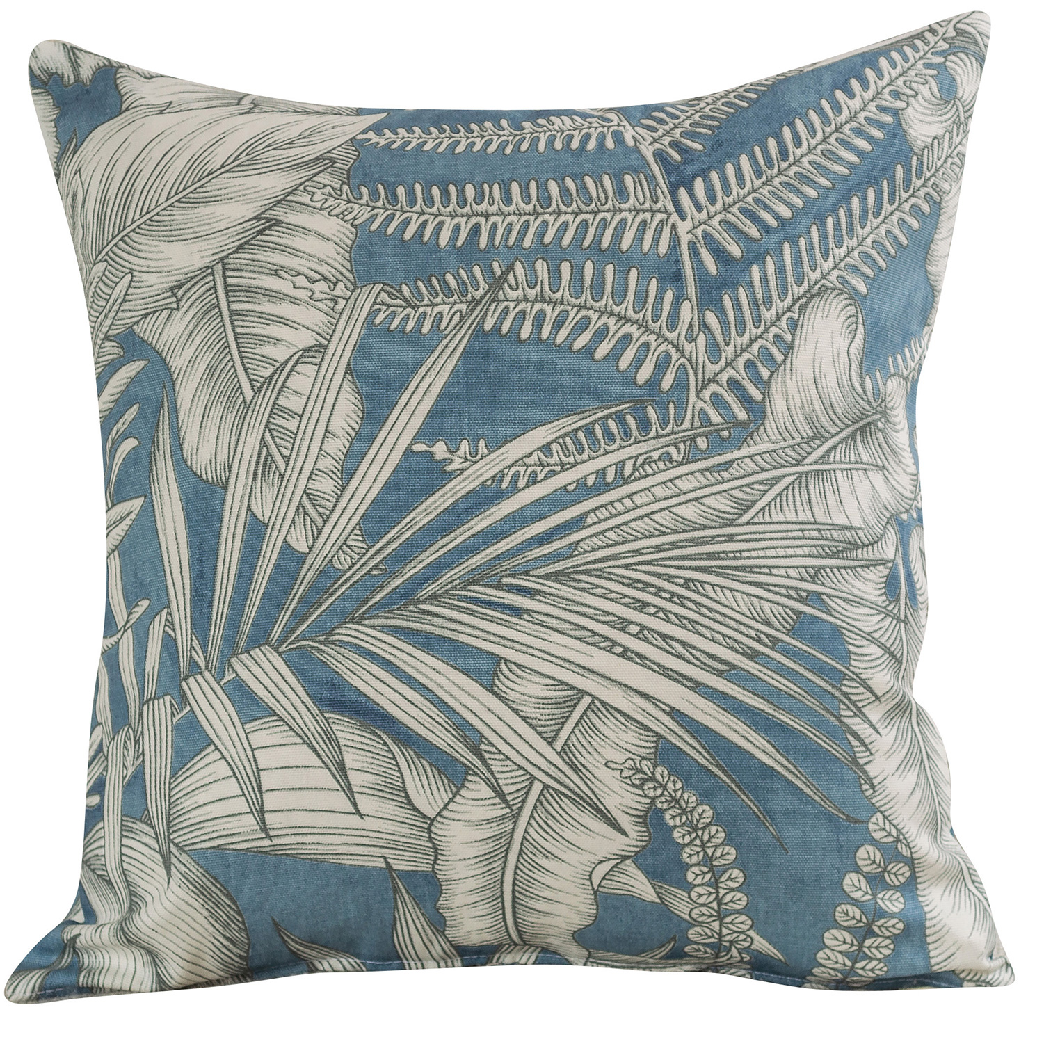 Neon Floral Cushion in Denim Blue