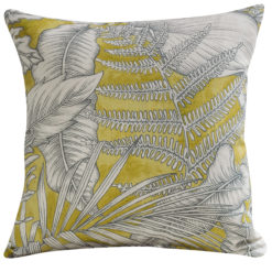 Neon Floral Cushion Lime