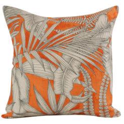 Neon Floral Cushion Orange