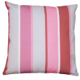 Outdoor Stripe Cushion Pink Grey