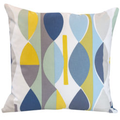 Retro Geometric Cushion Blue Yellow