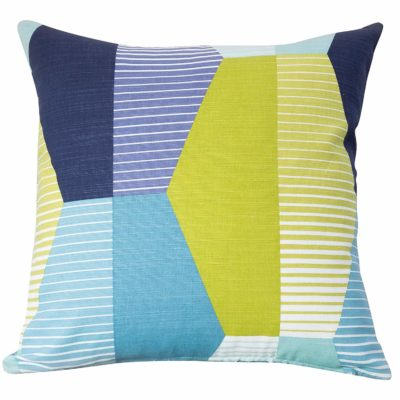 Retro Geometric Cushion in Blue and Green
