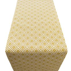 Scandi Ikat Table Runner Ochre Yellow