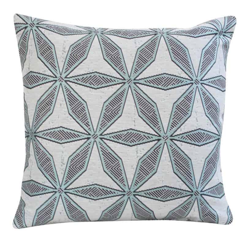 Star Geometry Cushion in Duck Egg Blue
