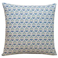 Tiny Scandi Flower Print Cushion in Blue
