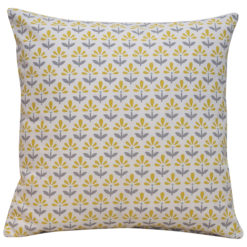 Tiny Scandi Flower Print Cushion in Yellow and Grey