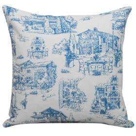 Toile Hamlet Cushion in Navy Blue