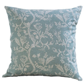 Vintage Trailing Leaves Cushion in Blue-gray