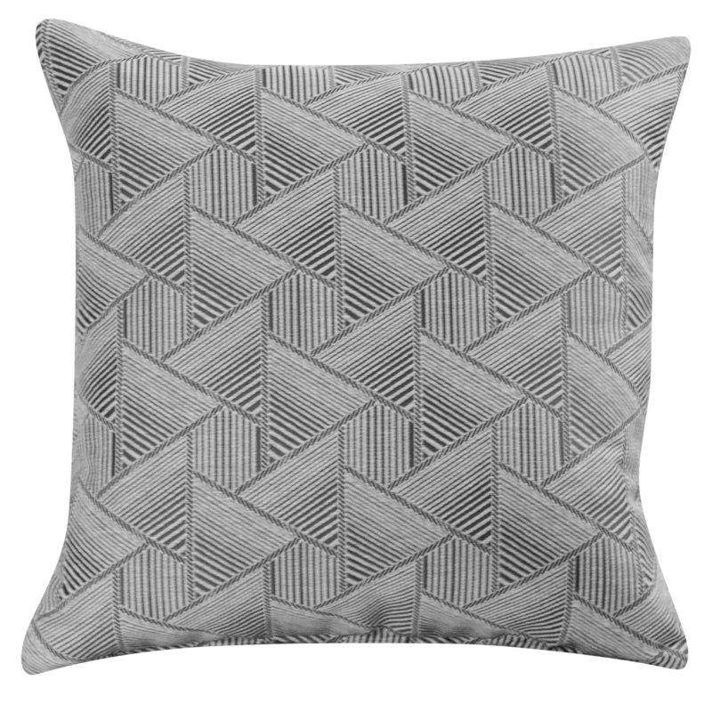 Triangles Geometry Cushion in Charcoal