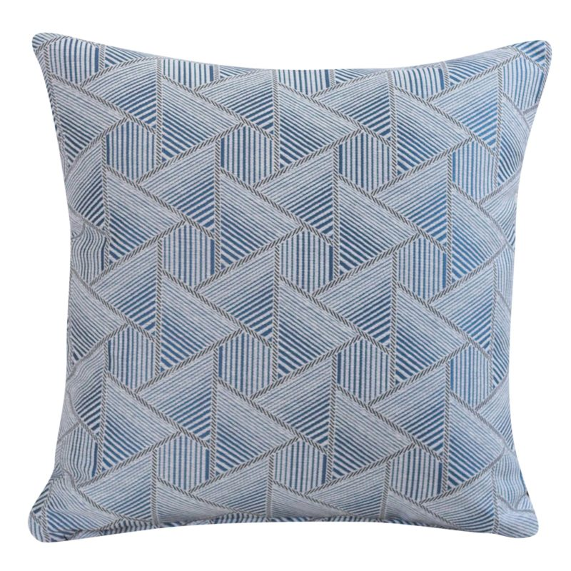 Triangles Geometry Cushion in Navy Blue