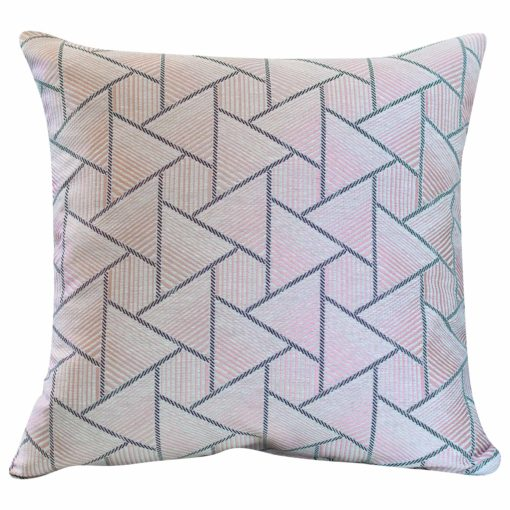 Triangles Geometry Cushion in Blush Pink