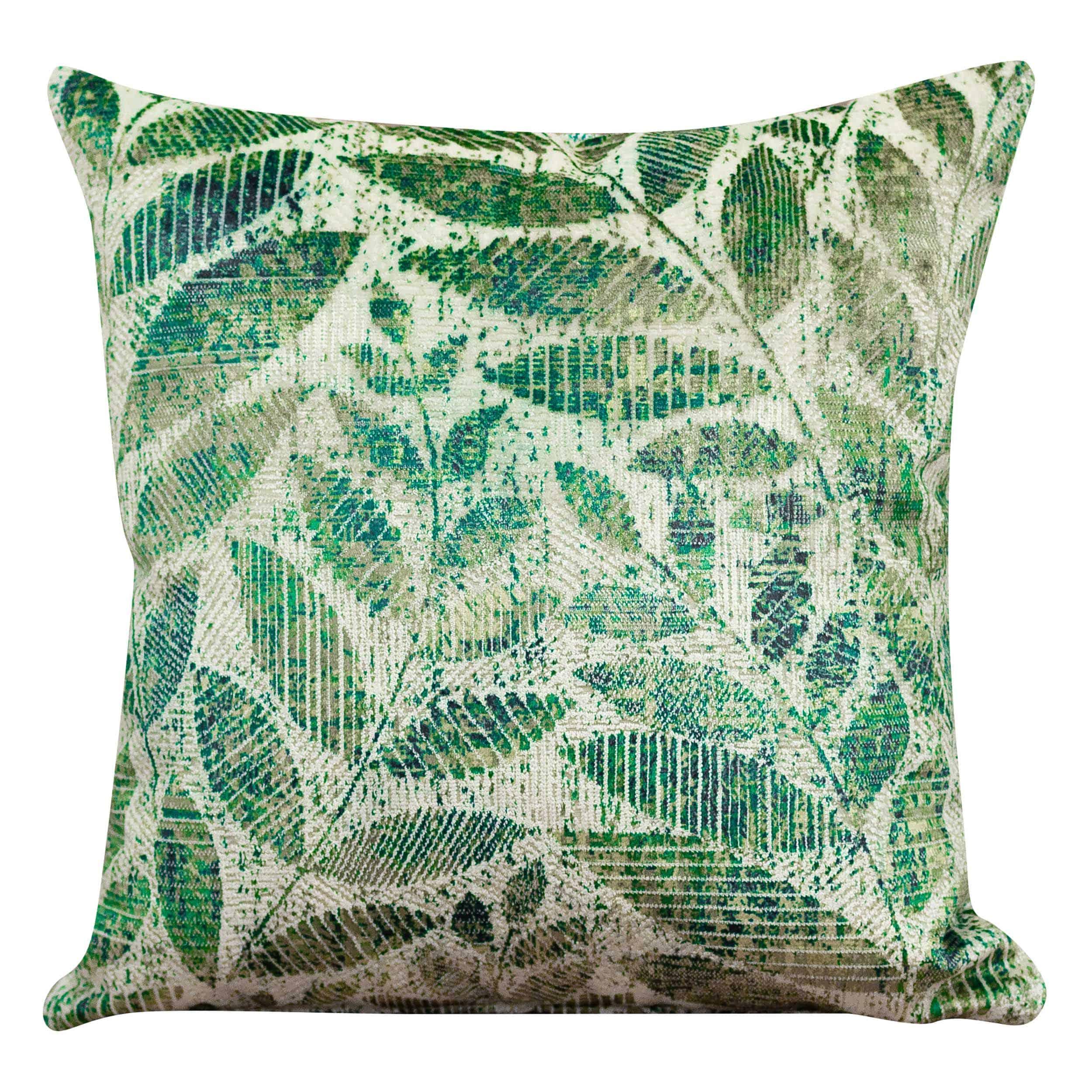Trailing Leaf Velvet Chenille Cushion in Bright Green