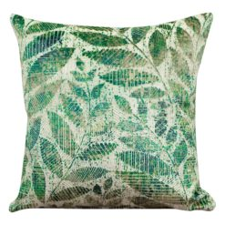 Velvet Chenille Trailing Leaves Cushion Bright Green