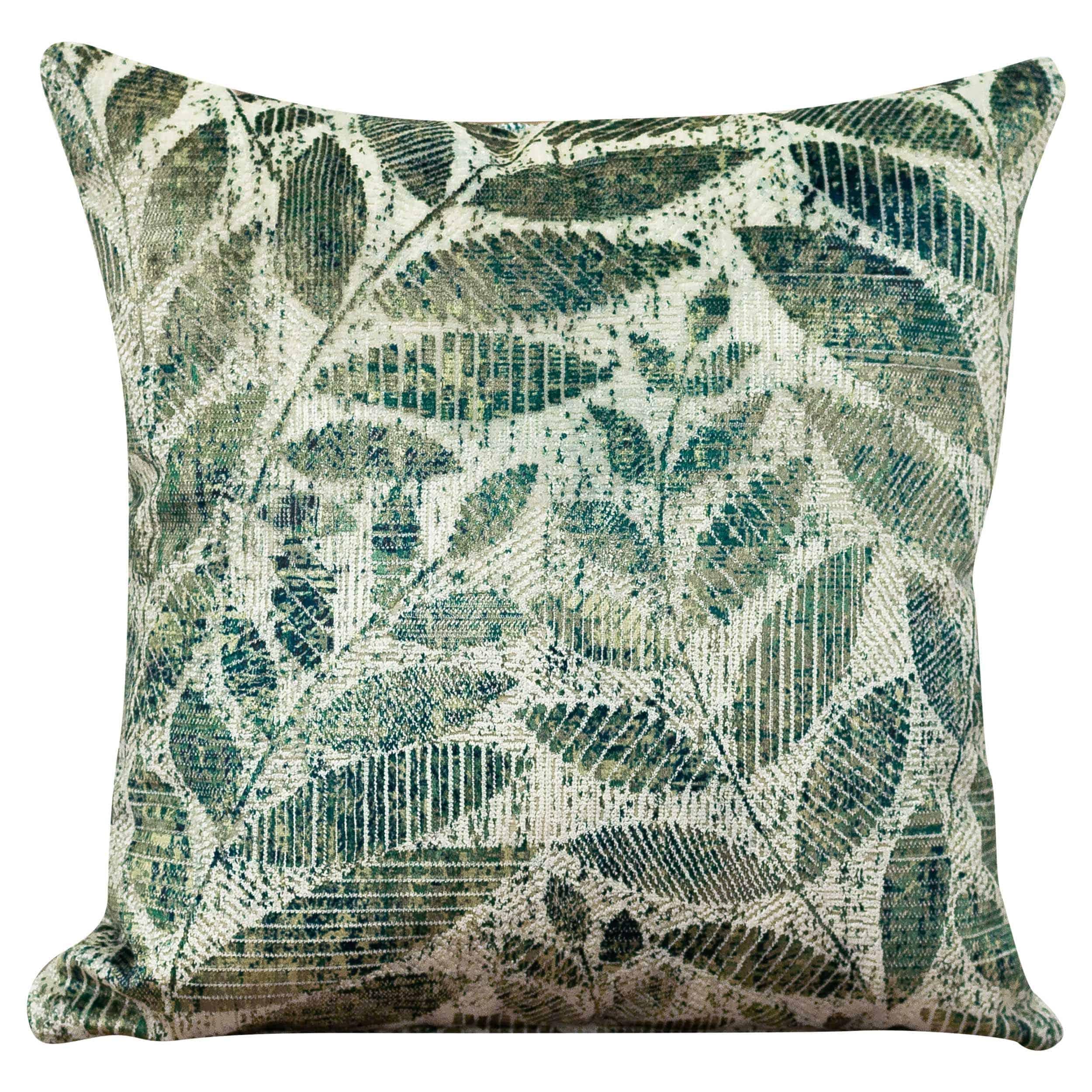 Trailing Leaf Velvet Chenille Cushion in Jade Green