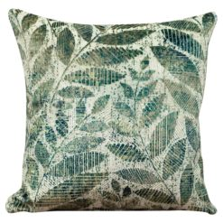 Velvet Chenille Trailing Leaves Cushion Jade