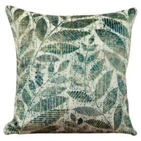 Velvet Chenille Trailing Leaves Cushion Jade
