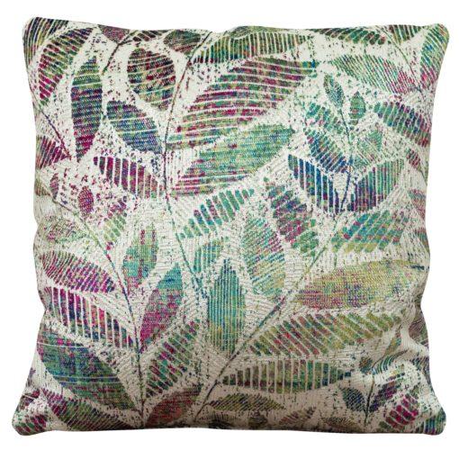 Velvet Chenille Trailing Leaves Cushion Purple and Green