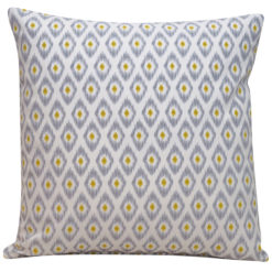 Watercolour Ikat Cushion in Grey and Citrus