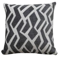 Abstract Geometric Cushion White on Grey