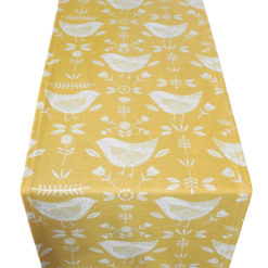 Yellow Scandi Bird Table Runner